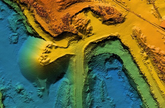 Digital elevation model. GIS product made after proccesing aerial pictures. It shows excavation site with steep rock walls that was mapped from a drone