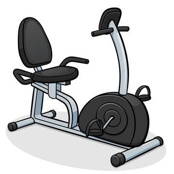 Vector recumbent exercise bike illustration