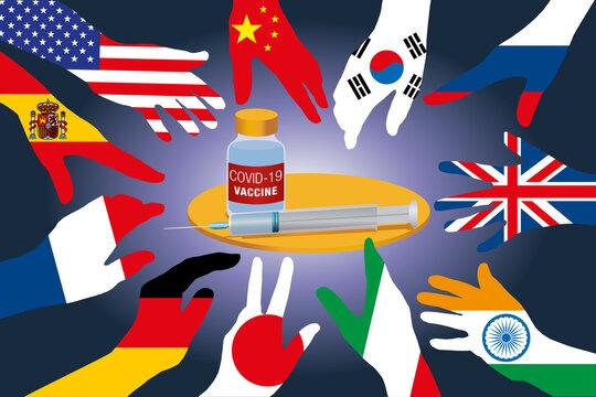 Concept de la recherche d'un vaccin pour arrêter l'épidémie de COVID-19 avec des mains tendues, représentant les drapeaux de différents pays.