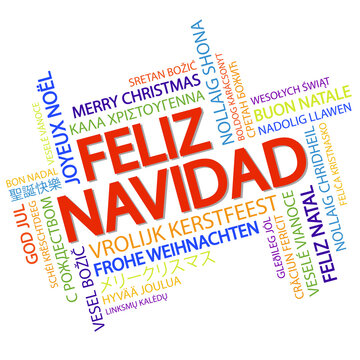 Word cloud Merry Christmas (in Spanish)