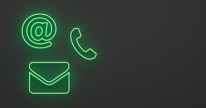 abstract contact icon as neon light in front of background - 3D Illustration