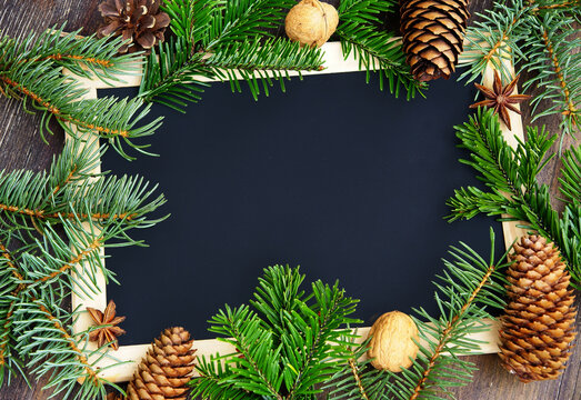 Christmas frame with natural materials, copy space