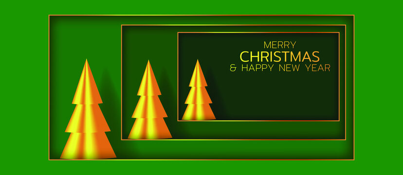 Festive composition with golden christmas trees. Merry Christmas and Happy New Year illustration. Winter holiday vector illustration. Paper cut style.