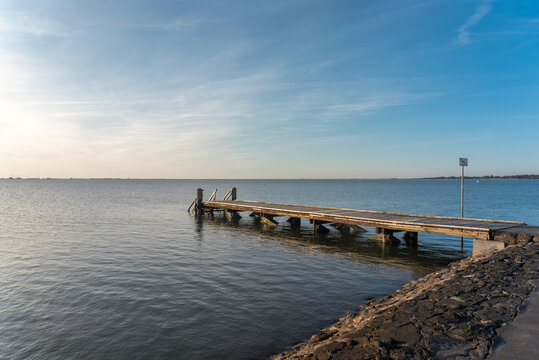 Jetty on the beach at the Dockkoogspitze by Husum