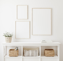 Poster frame mockup in white clear hallway interior, 3d render