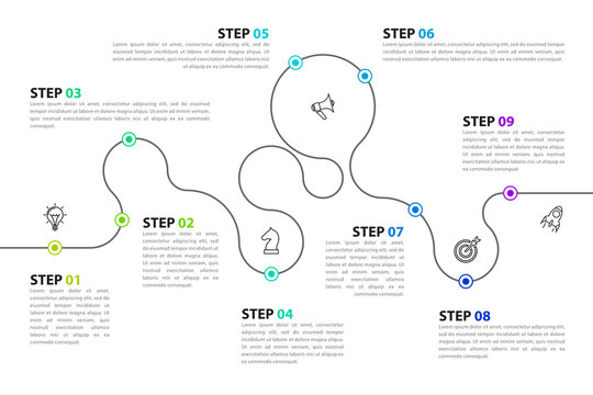 Infographic design template. Creative concept with 9 steps