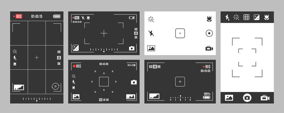Camera viewfinder with exposure, settings, options set. Digital device screen elements, frame.