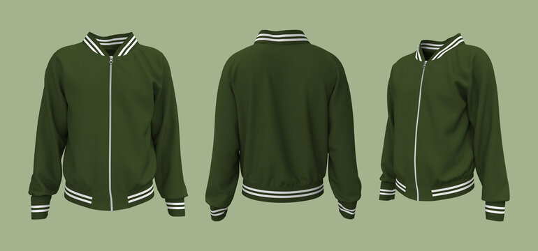 Varsity Jacket mockup in front, side and back views. 3d illustration, 3d rendering