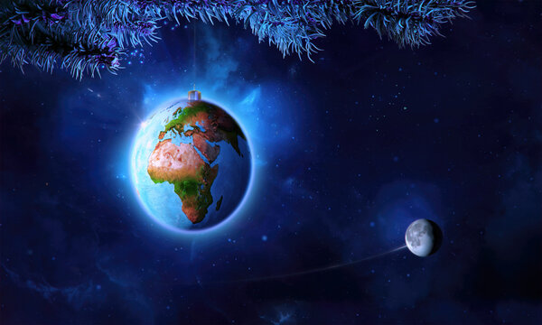 Christmas ball as planet Earth with moon on a fir tree branch, holiday background. Merry christmas, happy new year 2021 3D concept space illustration, xmas greeting card design with Earth globe ball