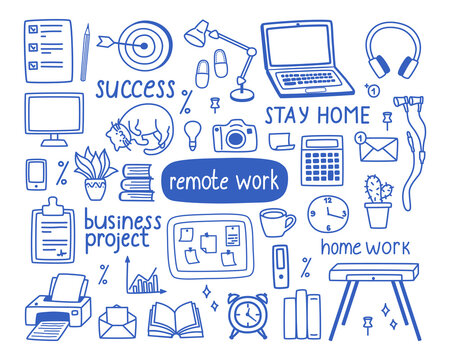 A set of contour elements on the topic of work from home, the concept of freelancing, quarantine. Vector illustration in doodle style for banners and websites.