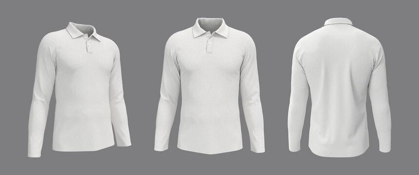 Blank collared shirt mockup, front, side and back views, tee design presentation for print, 3d rendering, 3d illustration