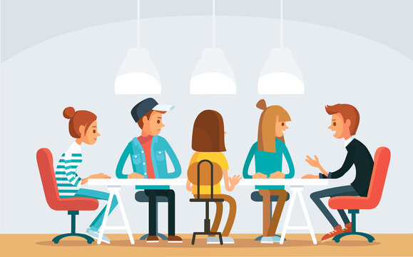 Vector picture view of coworking shared space office with freelancers working on project start up sitting at table. Collective team work small bussines entrepreneurship partnership concept.