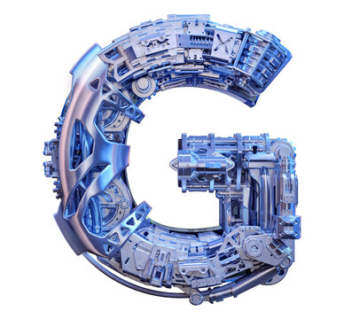 Technology 3D alphabet font design. Modern digital typography uppercase one letter G logo. Robot machine device tech style ABC typeface creative lettering isolated. Hi tech iron letter G illustration