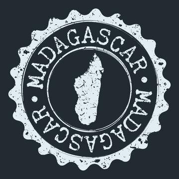 Madagascar Map Seal. Silhouette Postal Passport Stamp. Round Vector Icon Postmark.