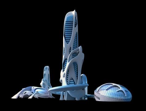 Futuristic city organic architecture