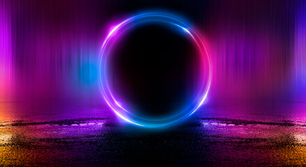 Fotomurales - Dark abstract background. Neon light circle figure. Reflection of neon light on the water.