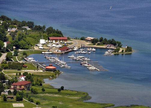 aerial view of the boats at the Marina in Gore Bay on Manitoulin Island, Ontario Canada