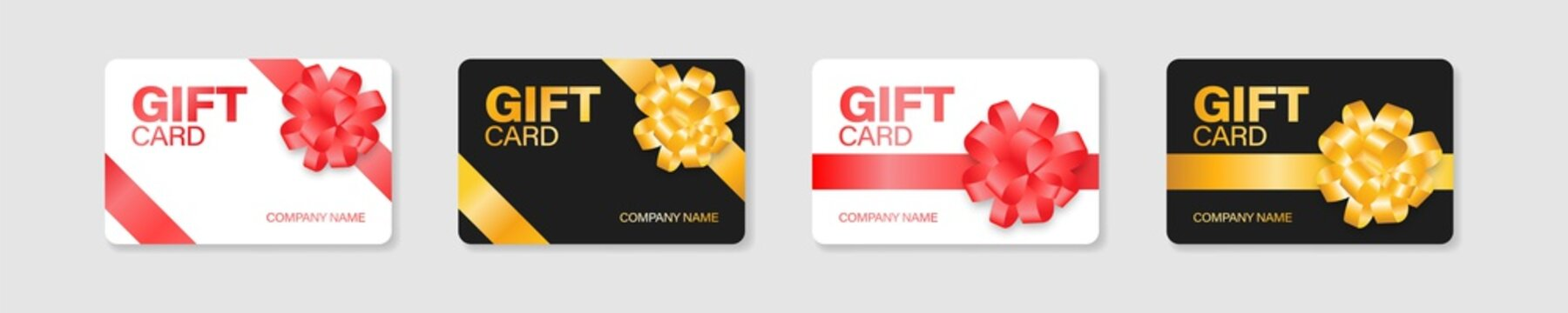 Gift card vector voucher mockup illustration, discount certificate plastic coupon collection.
