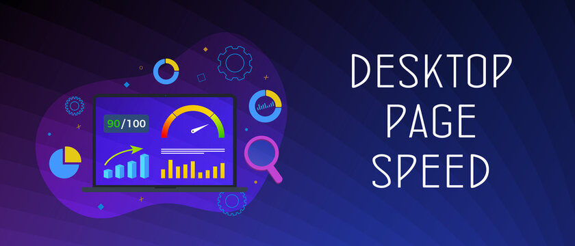 Desktop Website Page Speed Optimization horizontal concept. Website Loading Time image for internet SEO.  Laptop on whose screen accelerometer with high values. Header or footer vector banner template