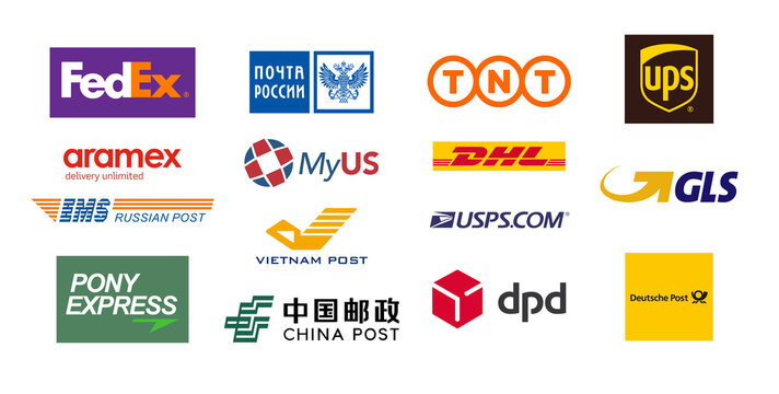 logos of international transport companies and Post offices: USPS, UPS, Fedex, DPD, Pony, DHL, EMS, TNT, China, Deutsche, Vietnam and Russia post. Vector illustration EPS10