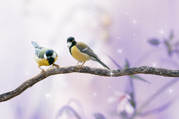Wall Mural - Portrait Of two Great Tit Birds Sitting On Tree Branch on Fantasy Mysterious Spring Forest Background, Fabulous Fairy Tale Floral Garden and Cute Songbird in Morning, Beautiful Artistic Toned Image.