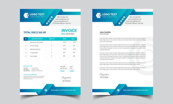 Modern Letterhead Or Invoice Set Template Design