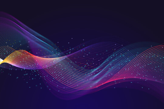 Wavy line abstract neon lights background