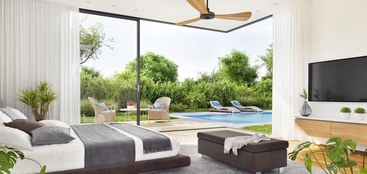 Modern interior bedroom with patio doors to  swimming pool garden