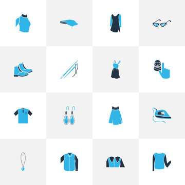 Style icons colored set with high waist skirt, sweatshirt, low bias roll and other eyelet elements. Isolated vector illustration style icons.