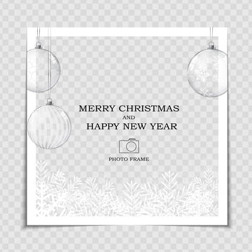Merry Christmas and Happy New Year Photo Frame Template. Vector Illustration