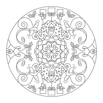 Christmas coloring page. Mandala. Santa claus and little doves carrying gifts. Black and white. Vector illustration.