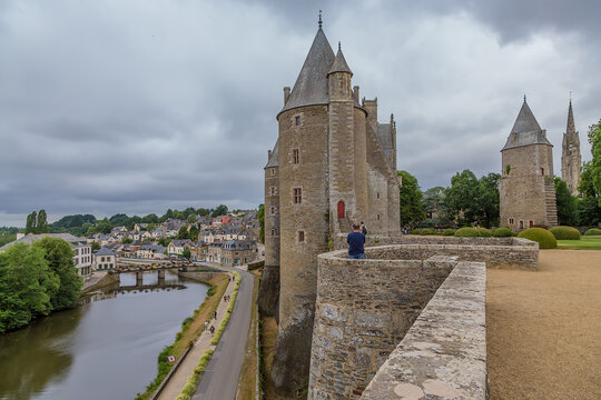 Josselin, France. Picturesque view of the castle and fortress walls