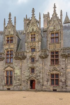 Josselin, France. The central part of the facade of a medieval castle