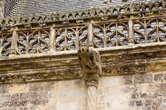 Josselin, France. Gargoyle on the facade of a medieval castle