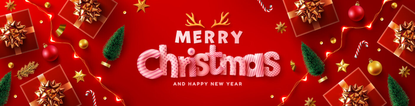 Merry Christmas & Happy New Year Promotion Poster or banner with red gift box,LED String lights and christmas element for Retail,Shopping or Christmas Promotion in rred and gold style.