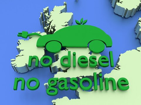 November 18, 2020: 3D rendered illustration showing UK to ban sales of new diesel and gasoline cars in 2030