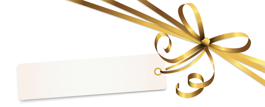 gold colored ribbon bow with hang tag