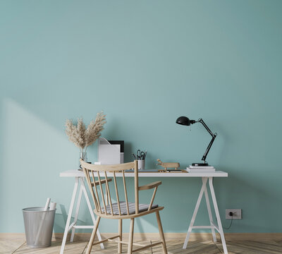 mock up empty green wall in modern interior background with wooden office, 3D render