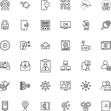 internet vector icon set such as: night, direction, cryptocurrency, texting, silhouette, 24th live stream video, magnifier, cam, hardware, atom, power, table, electricity, bubble, antivirus, event