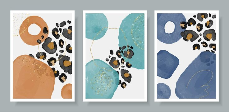Abstracr art vector posters illustration watercolor background with leopard pattern with splashes paint. Design template for banner, sale promotion, special offer, cover, banner, social media post.