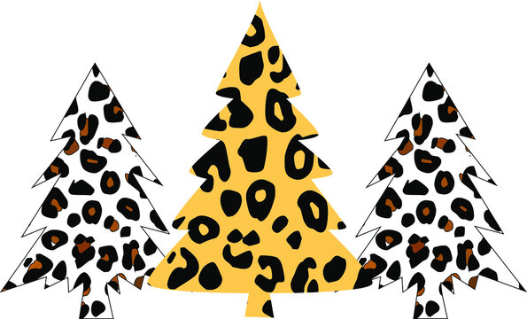 Leopard Christmas Tree  - Christmas Tree on transparent background