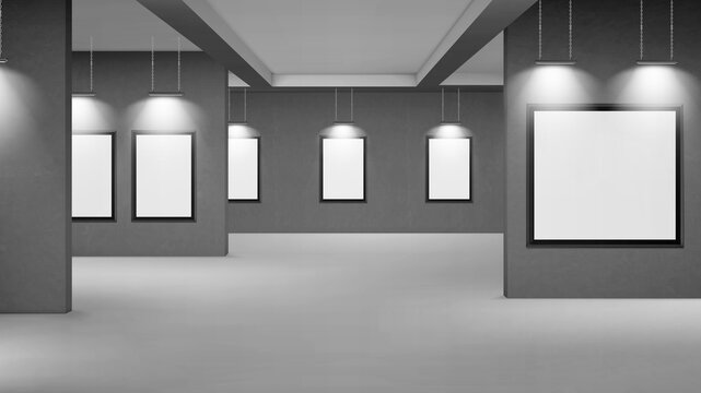 Empty gallery with blank picture frames illuminated by spotlights. Vector realistic interior of museum or studio room with white posters in black frames and lamps. Template for artwork exhibition
