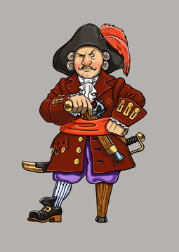 Pirate captain with the wooden leg cartoon. Funny captain Flint.
