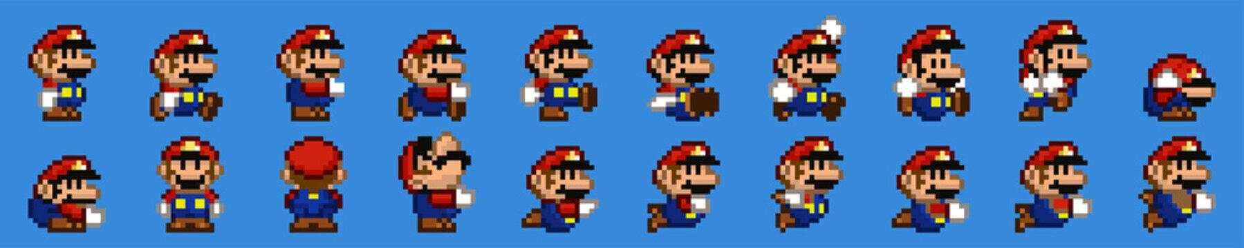 TASHKENT, UZBEKISTAN - NOVEMBER 9, 2020: Super Mario World pixelated retro video game. Mario character set of poses. Pixel art vector illustration. Old school of games