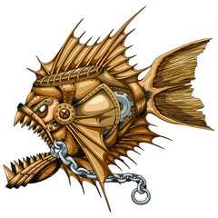 Steampunk Piranha Killer Retro Machine with Big Jaws Vector illustration isolated on white.