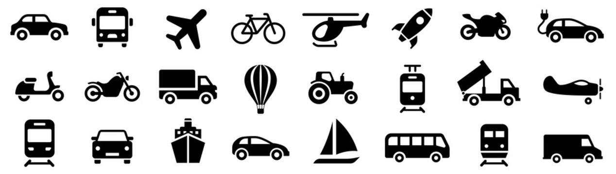Transport icon. Transportation symbols set vector