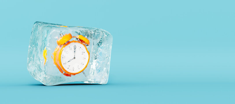 Frozen orange clock, stopping the time concept on blue background 3D Rendering