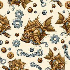 Steampunk Piranha Killer Retro Machine with Big Jaws Seamless Repeat Pattern Vector illustration