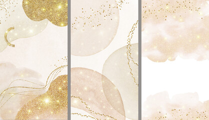 Abstract Arrangements. Christmas shiny dreamy. Posters. Terracotta, blush, pink, ivory, beige watercolor illustration & gold elements on white background. Modern print set. Logo Wall art Business card