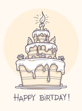 Greeting card with big birthday cake contour drawing. Illustration.